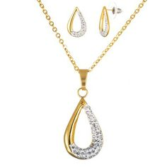 Gold and crystal teardrop earring and necklace set. #anniversary #jewelry #gifts #perfect