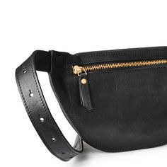 853aaa8843 Large luxury black vegetable tanned leather women s fanny pack golden  zipper DAPHNY RAES