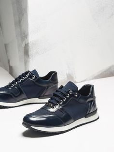Sleek, modern Sneaker in a combination of leather, suede and nylon mesh sits on a sporty and textured, performance worthy rubber sole. Mens Shoes Boots, Men's Shoes, Shoe Boots, Leather Trainers, Leather Sneakers, Sneakers Fashion, Fashion Shoes, Best Shoes For Men, Online Shopping Shoes