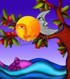 background with moon and sun mural