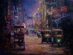 Artist Name: Iruvan Karunakaran, Title: DelhiStreetNight, Lot No.: 75747, Medium: Acrylic on Canvas, Size: 40X30, INR 53,000 / $ 925