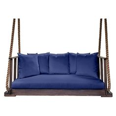Bed Country Side  Swing Coffee/Blue Outdoor Porch Swings ($6,079) ❤ liked on Polyvore featuring home, outdoors, patio furniture, furniture, outdoor garden furniture, outdoor furniture, outside swings, country outdoor furniture и blue patio furniture