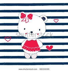 cute teddy bear cartoon, teddy bear girl on striped background, T-shirt graphics for kids vector illustration