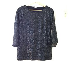 J.Crew navy sequin top with 3/4 length sleeves ✨ Stunning J.Crew navy blue sequin top with 3/4 length sleeves  Worn only once and in excellent used condition. All sequins in tact!! I also have this top available in grey! J. Crew Tops