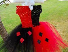 Harley Quinn tutu with crochet top and ribbon that ties around the neck.. $35.00, via Etsy.