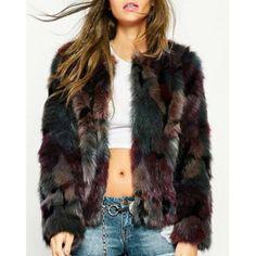 Noble Color Mixture Faux Fur Jewel Neck Coat For Women