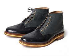 Mens Hemming (Navy) Brogue Leather Boot | H Shoes