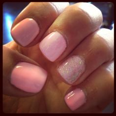 Spring time nails! Light pink with OPI 'which is witch' accent nail :)