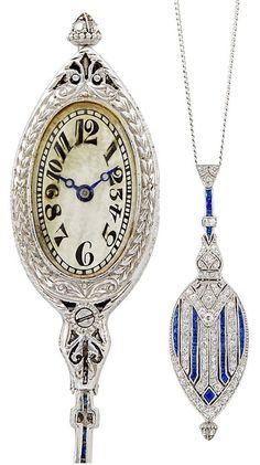 Belle Époque Platinum/Diamond/Sapphire Watch Pendant