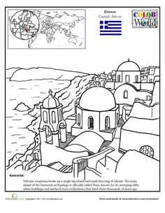 Travel the world without traveling too far from home by using our Color the World worksheets. This one whisks you away to Santorini Island in Greece, an island in the Agean Sea thats home to structures that date as far back as the Bronze Age! Geography Worksheets, Teaching Geography, World Geography, Colouring Pages, Coloring Pages For Kids, Coloring Sheets, World Thinking Day, Santorini Island, Thematic Units