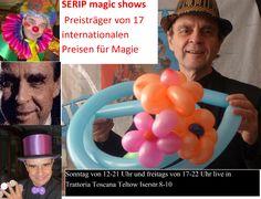 """SERIP magic shows live in Trattoria Toscana Teltow: Freitags von 17 bis 22 Uhr und Sonntags von 12 bis 21 Uhr. Trattoria Toscana Teltow, Iserstr. 8-10, Tel.: 03328-3565951.  Gewinner von 17 internationalen Preisen, 2 """"Grand Prix"""", die meisten Stimmen von Publikum und Jury bei einer Gala für TV mit zwei Weltmeister von FISM."""