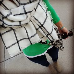 Casual outfit with a green cardigan, skinny jeans, and black and white blanket scarf! You can find the tops at #Target!