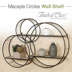 Add modern storage to your space with the Macayle Circles Wall Shelf. With an overlapping design, the storage accent features three metal circles with shelves. Display Shelves, Wall Shelves, Circle Wall Shelf, Home Decor Styles, Diy Home Decor, Shelf Over Door, Regal Display, Wooden Shelves, Cool Walls