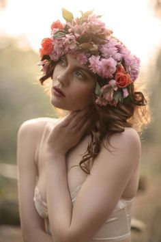 Flowers on head, innocent look