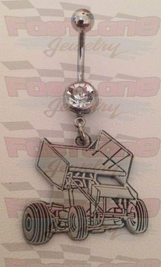 Sprint Car Charm Belly Button / Navel Ring by Fastlane Jewelry- These charms are our exclusive design!