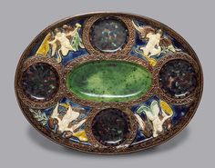 Oval Dish with Winged Putti