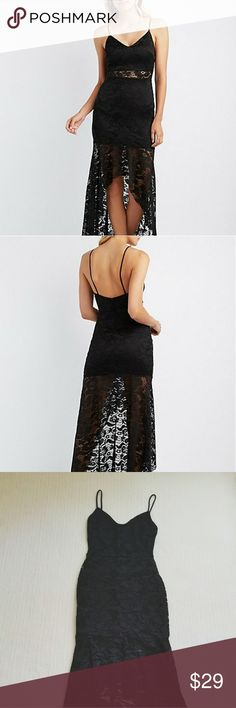 Charlotte Russe Lace High Low Maxi Dress Really cute black lace high low maxi dress. Brand new with tags. Size small. Charlotte Russe Dresses Maxi