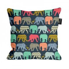 baby elephants and flamingos cushion