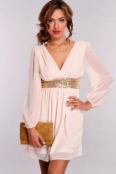 Peach Sheer Long Sleeves Sequins Banded Waist Dress