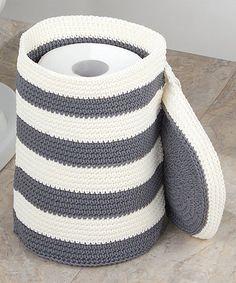 Look at this #zulilyfind! Gray & Ivory Ellis Knit 2 Roll Toilet Paper Holder #zulilyfinds