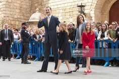 King Felipe VI of Spain, Princess Leonor of Spain, Queen Letizia of Spain and Princess Sofia of Spain attend the Easter Mass at the Cathedral of Palma de Mallorca on April 16, 2017 in Palma de Mallorca, Spain.