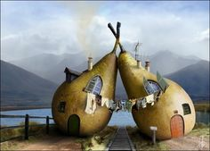 If I were married, this is how I want to live.  Him in one pear, me in the other...but right next door.  :)