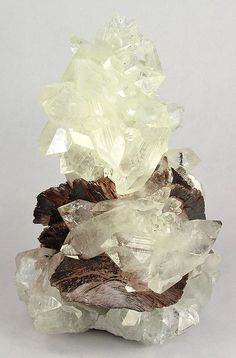 "Apophyllite-(KF) on ""chocolate"" Heulandite - India"