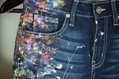 Recycled Kancan womens jeans 25 size 0 hand-painted by Rox Paint Splash, Color Splash, Painted Jeans, Hand Painted, Denim Dye, Cowgirl Jeans, Recycle Jeans, Textiles, Color Photography