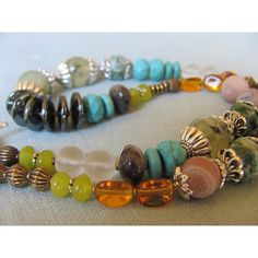GEMSTONE SOUTHWESTERN NECKLACE, Handcrafted Chunky Assorted Gemstone... (560 MXN) ❤ liked on Polyvore featuring jewelry, necklaces, jade necklace, vintage turquoise necklace, turquoise strand necklace, turquoise necklace and gemstone necklaces
