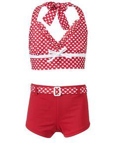 e29eb9ca53a6e Penelope Mack Kids Swimsuit, Girls Whole-Hearted Halter Bikini & Reviews -  Kids - Macy's