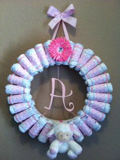 Baby Girl Diaper Wreath by AngelsBabyGifts on Etsy, $60.00