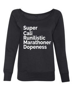 Super Cali Runilisitic Marathoner Dopeness - Off the Shoulder, On the – OnYourMarQ Running Co. Disney Races, Inside Out, Cali, Crew Neck Sweatshirt, Off The Shoulder, Dress Up, Sweatshirts, Womens Fashion, Running