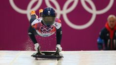 Lizzy Yarnold on her way to gold in the skeleton at the Sochi 2014 Olympics