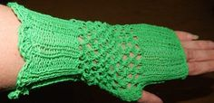 Stunning Cotton fingerless gloves, a wonderful green colour. Crochet Bikini, Crochet Top, Green Colors, Fingerless Gloves, Arm Warmers, Hand Knitting, Christmas Gifts, Colour, Fashion Outfits