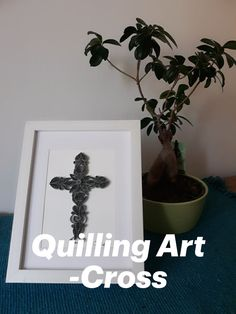 Quilling Cross framed for wall or like this on shelves Quilling Art, Shelves, Frame, Wall, Ideas, Home Decor, Picture Frame, Shelving, Decoration Home