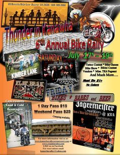 Thunder in Kanawaha Bike Rally July 18-20th Live Music, Bike Games, Wet T-Shirt Contest, Tattoo Contest, Vendors, Best Bike Competition, Keg Rolls, Food ,Burn Out Competition, Bikini Bike Wash, and more $15 per day – $25 for 2 days
