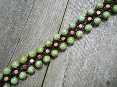Seafoam Picasso and Copper // 6 Strand Beaded Leather by DeLucaArt, $37.99
