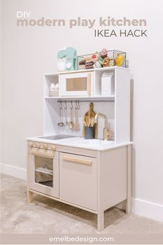 simple and modern play kitchen IKEA hack — emelbe design Ikea Toy Kitchen Hack, Kitchen Hacks, Ikea Hack Kids, Kids Play Kitchen, Wooden Play Kitchen, Play Kitchens, Hacks Cocina, Casa Kids, Ikea Toys