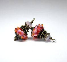 2 blue background with raised hot pink flowers lampwork bead dangles or bead dangles 15mm murano rondelle glass beads