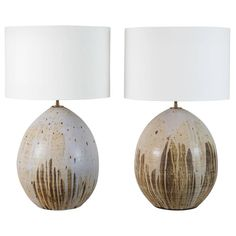 Pair of Large Ceramic Pod Lamps by Victoria Morris | From a unique collection of antique and modern table lamps at https://www.1stdibs.com/furniture/lighting/table-lamps/