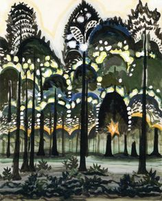 dionyssos:  Charles Burchfield  Sunrise in the Forest 1917