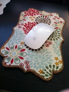 cork and pretty scrapbook paper for mouse pad
