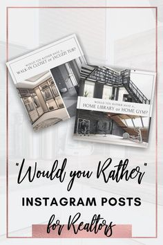 """Are you looking for an easy way to spruce up your instagram account? These posts are PERFECT for you. ♥ Keep your real estate instagram account engaging and fun with these """"Would You Rather"""" posts that really get people talking! Who can resist commenting when everyone is deciding which picture they would rather have? ♥ Real Estate Advertising, Real Estate Marketing, Marketing Ideas, Marketing Materials, Media Marketing, Digital Marketing, Real Estate Pictures, Real Estate Training, Real Estate Signs"""