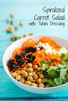 Spiralized Carrot & Crispy Chickpea Salad with Tahini Dressing - A fresh and healthy summer salad! | foxeslovelemons.com