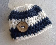 Newborn Beanie baby boy hat, large wood button nautical, blue, ecru, baby boy coming home outfit,  boy beanie by BootCuffboutique on Etsy https://www.etsy.com/listing/210643920/newborn-beanie-baby-boy-hat-large-wood