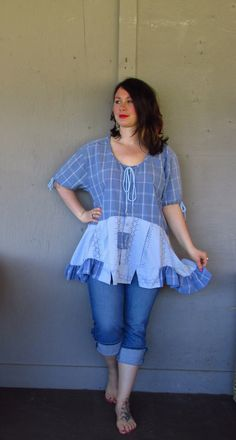 15% off Romantic Bohemian Tunic/upcycled clothing/French shabby top/up cycled summer shirt/prairie girl peasant cowgirl XX large XXX Large