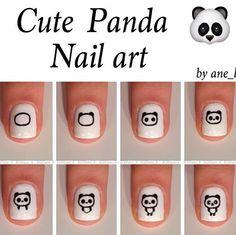 Panda nailart on We Heart It Panda Bear Nails, Panda Nail Art, Animal Nail Art, Panda Art, Cute Nail Art, Nail Art Diy, Diy Nails, Cute Nails, Pretty Nails