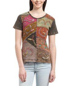 Look at this #zulilyfind! Green Embroidered Color Block Tee #zulilyfinds
