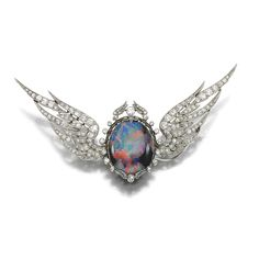 OPAL AND DIAMOND BROOCH, EARLY 20TH CENTURY
