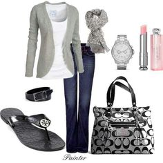 Love the sandals, would go for a colored t-shirt and no scarf!